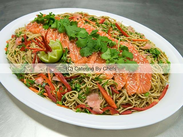 Teriyaki salmon on soba noodles
