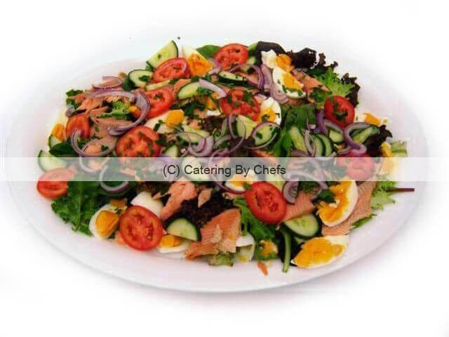 Traditional French style smoked trout salad
